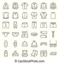 ensemble, vêtements, accessoires, 2, ligne mince, mâle, icône