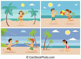 ensemble, vacances plage, été, gosses, enfants