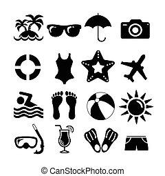 ensemble, vacances plage, icônes