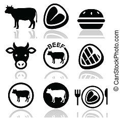 ensemble, vache boeuf, viande, vecteur, icône
