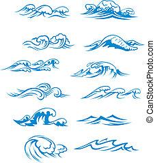 ensemble, vagues océan