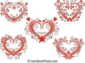 ensemble, valentin, élégant, floral, cœurs, rouges