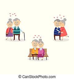 ensemble, valentine, amour, couple, personnes agées, vecteur, jour