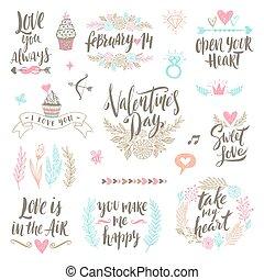 ensemble, valentine, illustration, main, vecteur, dessiné, calligraphie, jour