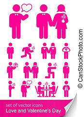 ensemble, valentine, isolé, illustration, vecteur, fond, ...