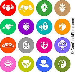 ensemble, valentine, symboles, vecteur, butons, jour