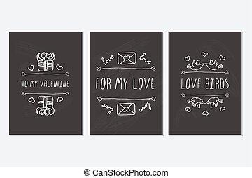 ensemble, valentines, salutation, main, saint, dessiné, jour, cartes.