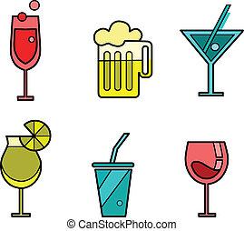 ensemble, variations, six, boisson, icône