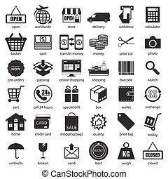 ensemble, vecteur, achats, logistique, icônes