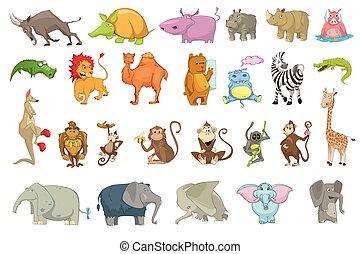 ensemble, vecteur, animaux, illustrations.
