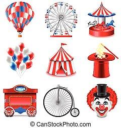 ensemble, vecteur, cirque, icônes