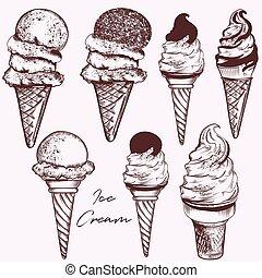 ensemble, vecteur, crème, conception, glace, main, dessiné
