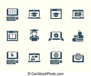 ensemble, vecteur, education, ligne, icône