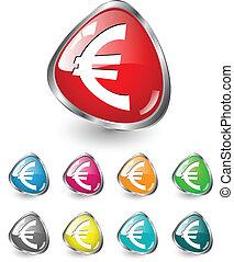 ensemble, vecteur, euro, icône