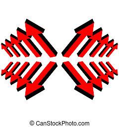 ensemble, vecteur, flèches, rouges