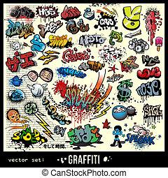 ensemble, vecteur, graffiti, éléments