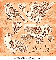 ensemble, vecteur, hearts., oiseaux
