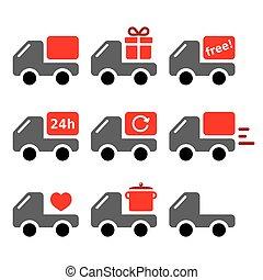 ensemble, vecteur, livraison, voiture, marchandises, expédition, icônes, camion, emporter