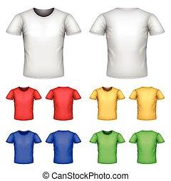 ensemble, vecteur, mâle, coloré, t-shirts