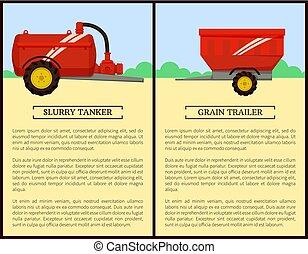 ensemble, vecteur, machinerie, agricole, bannière, dessin animé
