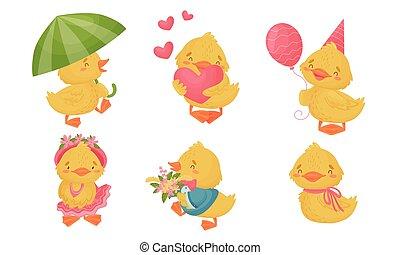 ensemble, vecteur, marche, parapluie, coeur, poulet, tenue, jaune