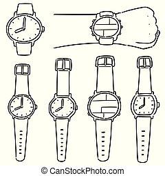 ensemble, vecteur, montre