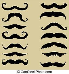ensemble, vecteur, mustache.
