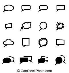 ensemble, vecteur, noir, speach, bulles, icône