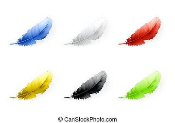 ensemble, vecteur, plumes