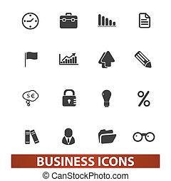 ensemble, vecteur, présentation, icones affaires