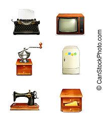 ensemble, vecteur, retro, icône