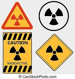 ensemble, vecteur, -, signe, radioactivité