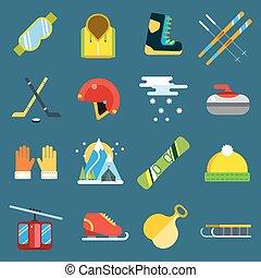 ensemble, vecteur, sport, hiver, icônes
