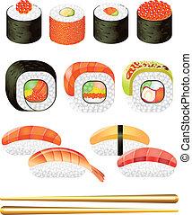 ensemble, vecteur, sushi, rouleaux, coloré