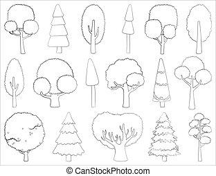 ensemble, vecteur, tatouage, stylisé, silhouettes, ou, grand, habillement, à feuilles caduques, card., conifère, contour, logo, arbres.