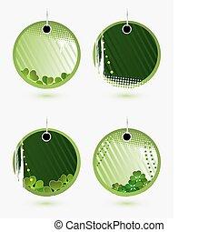 ensemble, vecteur, vert, étiquettes