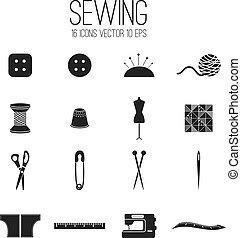 ensemble, .vector, illustration, couture, icône
