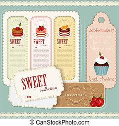 ensemble, vendange, étiquettes, -, menu, dessert