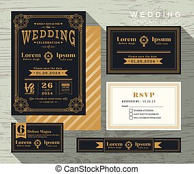 ensemble, vendange, cadre, invitation, typographie, gabarit, mariage