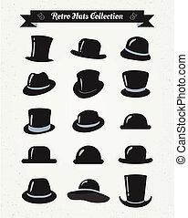 ensemble, vendange, chapeaux, hipster, retro, icône
