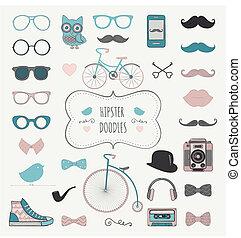 ensemble, vendange, hipster, retro, griffonnage, icône