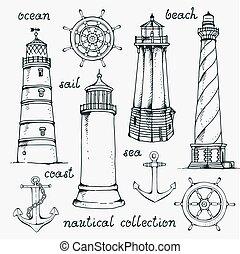 ensemble, vendange, illustration, main, vecteur, nautique, dessiné