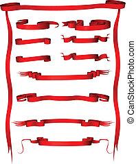 ensemble, vendange, isolé, arrière-plan., vecteur, bannières, blanc rouge