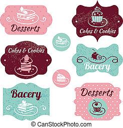 ensemble, vendange, labels., boulangerie, petits gâteaux,...