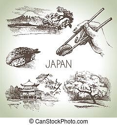 ensemble, vendange, main, dessiné, japonaise