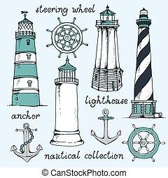 ensemble, vendange, main, vecteur, nautique, dessiné