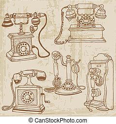 ensemble, vendange, -, main, vecteur, téléphones, dessiné