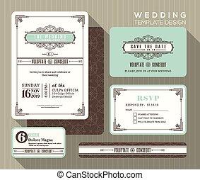 ensemble, vendange, mariage, conception, gabarit, invitation
