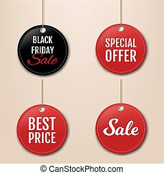 ensemble, vente, corde, étiquettes, grand, rouges