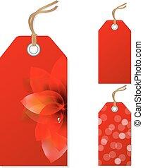 ensemble, vente, rouges, étiquettes